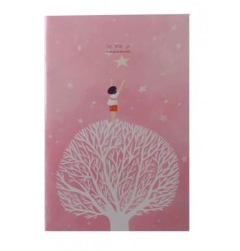 Cuaderno rosa con árbol