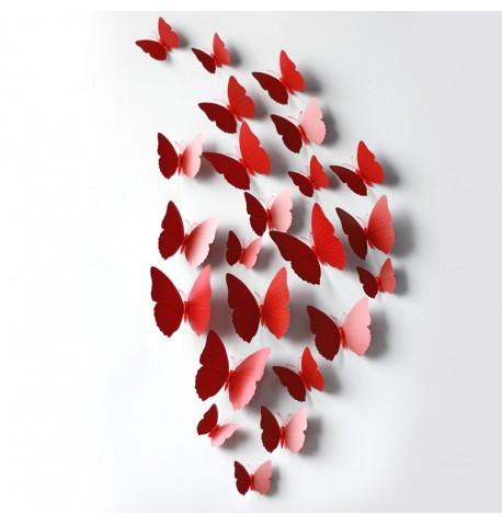 Mariposas pared rojas
