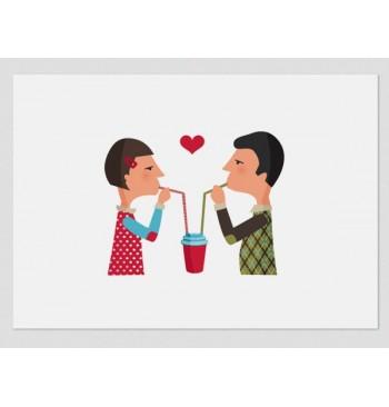 Lámina Los amantes del café